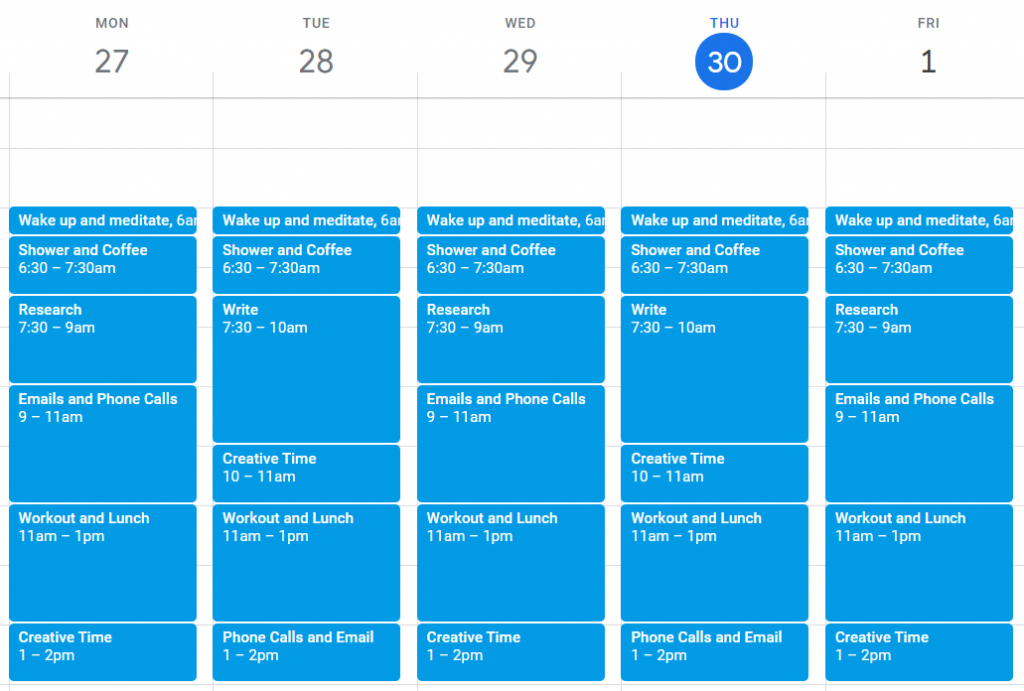 Time Blocking Calendar